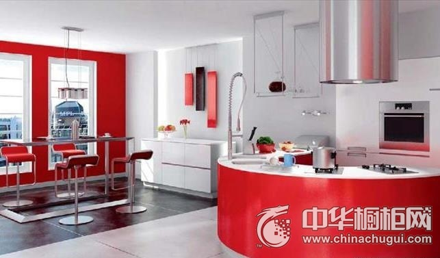 圆弧形橱柜装修效果图 红色整体橱柜图片