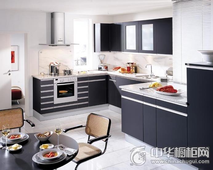 现代简约风格整体橱柜图片 开放式厨房装修效果图