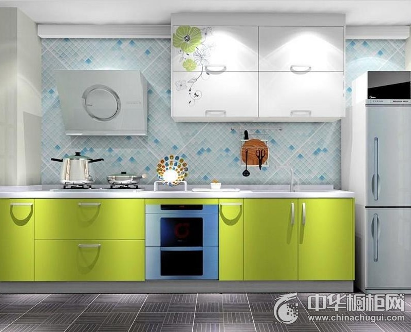绿色橱柜图片 一字型整体橱柜效果图