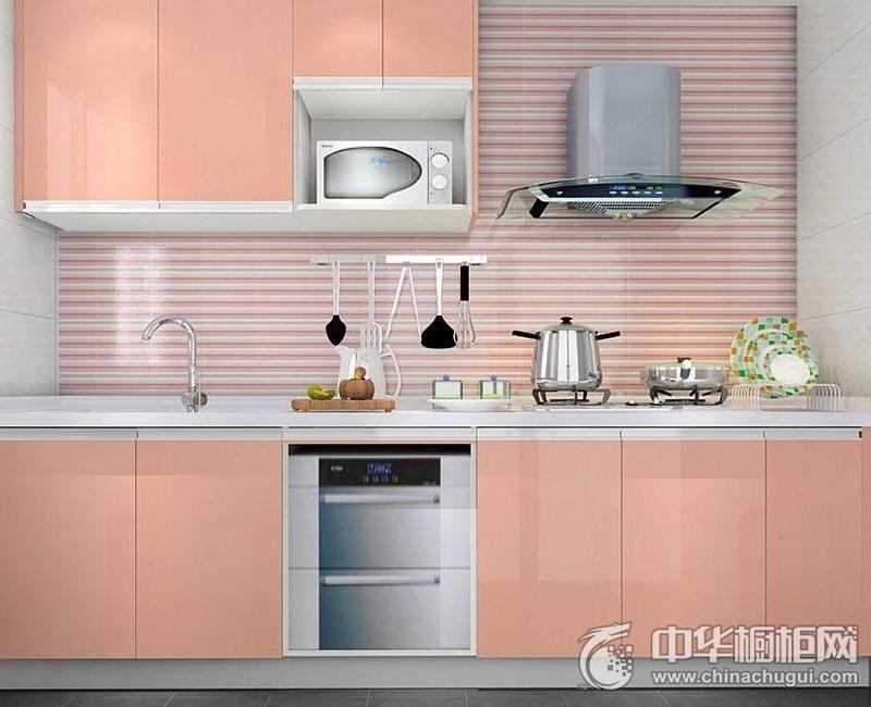 一字型橱柜图片 粉色系厨房装修效果图