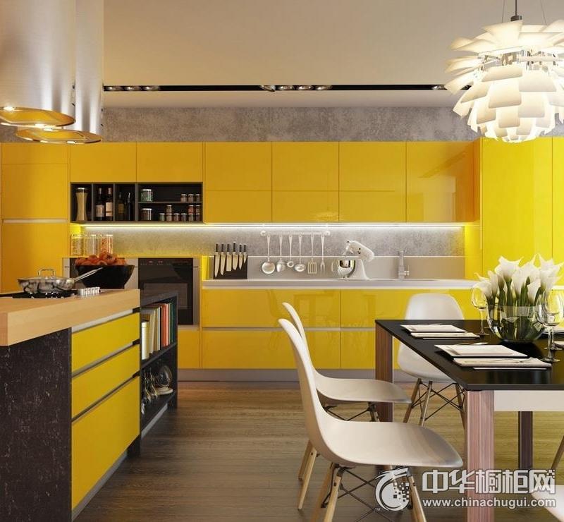 现代简约风格橱柜图片  温馨黄色橱柜效果图