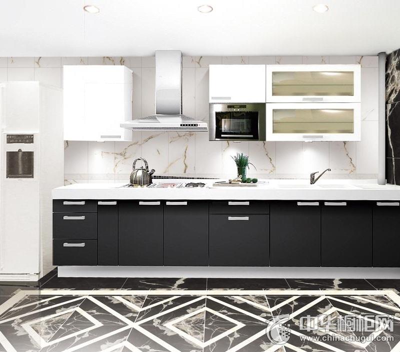 简约风格整体橱柜图片 黑色系一字型厨房效果图