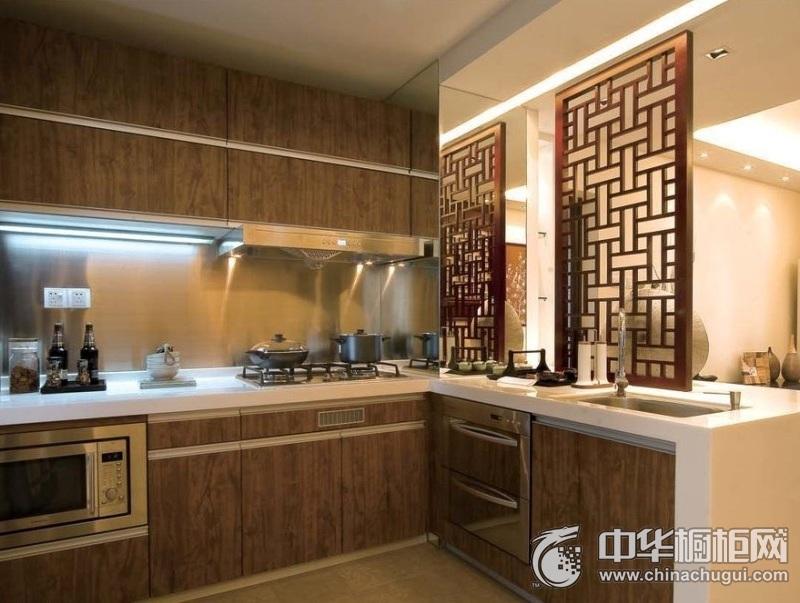 中式橱柜图片 原木色橱柜装修效果图
