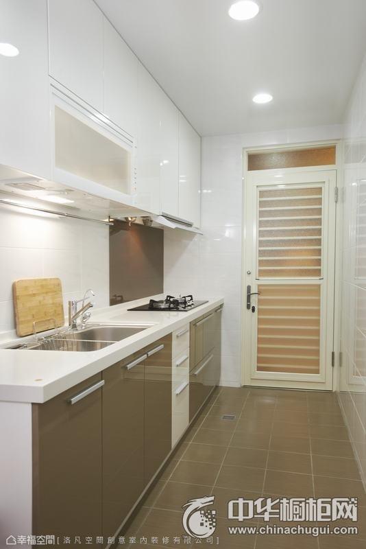现代简约厨房装修效果图 一字型橱柜图片