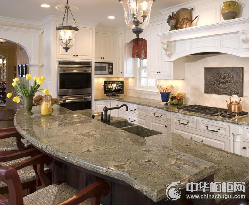 开放式厨房装修效果图 欧式风格橱柜图片