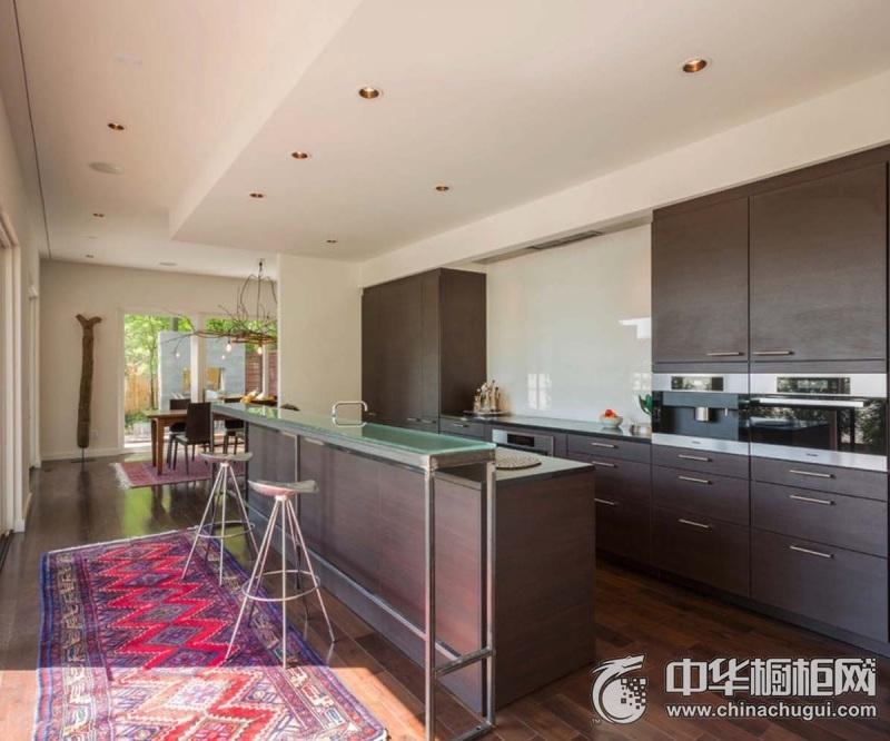 文雅温情现代风格厨房装修图片 棕色系橱柜效果图