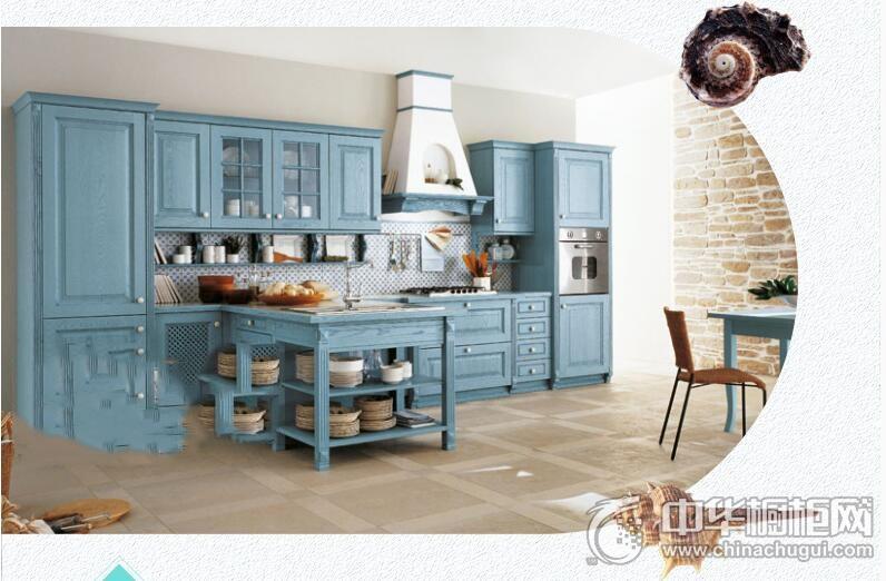 易佰利厨柜  蓝色地中海风格橱柜效果图 蓝色系橱柜图片