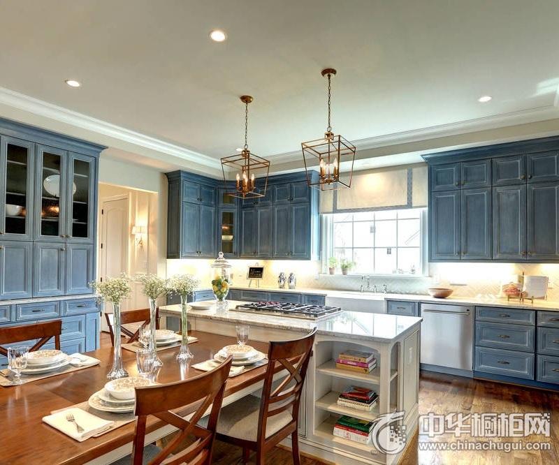 美式风格橱柜图片 蓝色系橱柜效果图