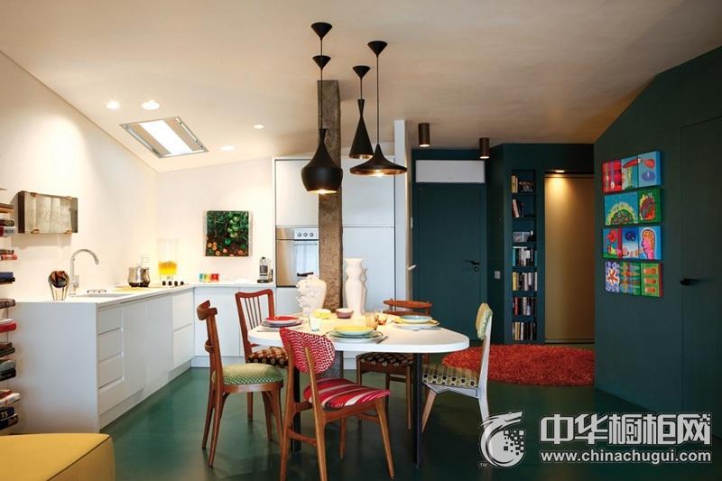 北欧风格L型橱柜图片 开放式厨房装修效果图