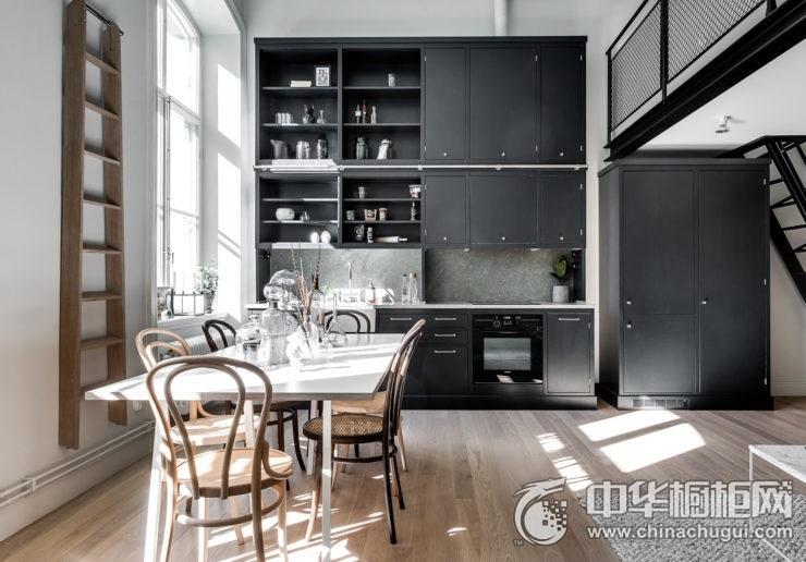 现代风格开放式厨房图片 一字型橱柜效果图