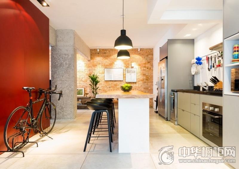 创意开放式厨房装修效果图 一字型橱柜图片