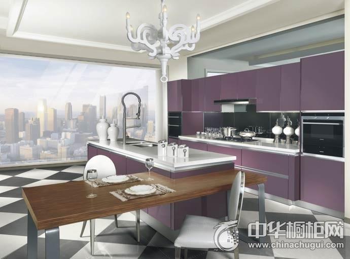 德贝橱柜 紫色情愫系列橱柜效果图 一字型橱柜图片