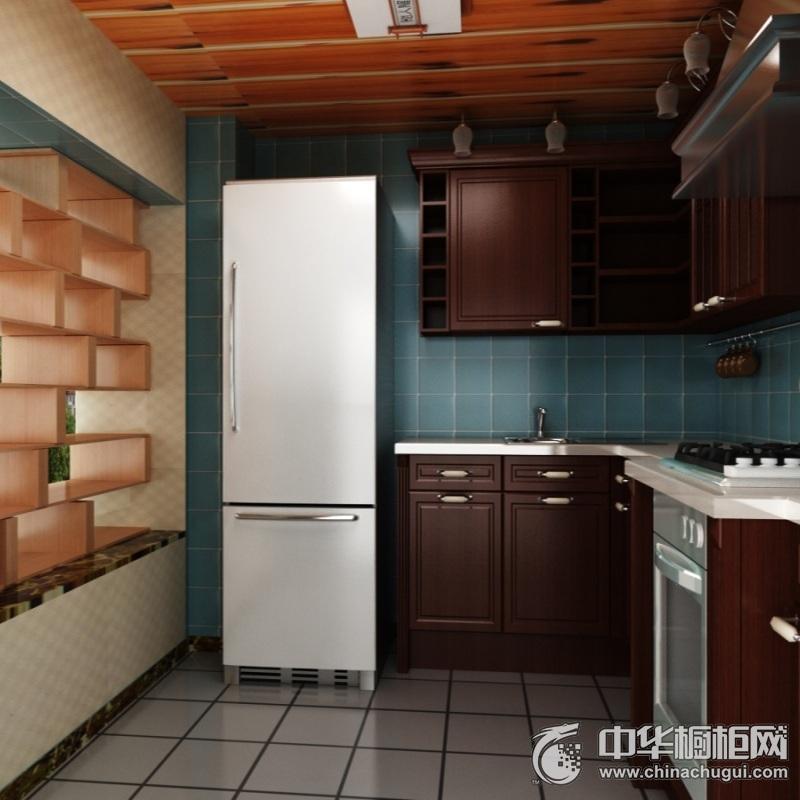 美式厨房橱柜装修效果图 L型橱柜图片