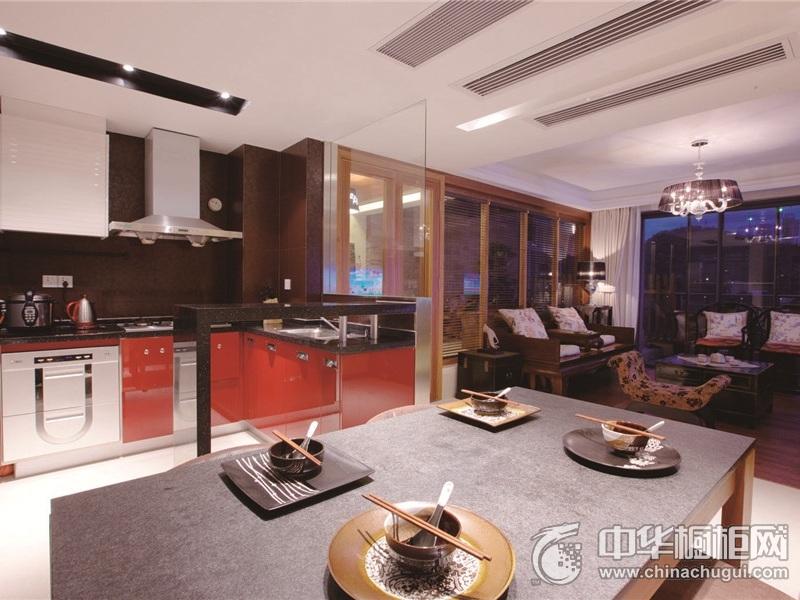 混搭风格整体橱柜图片 开放式厨房装修效果图