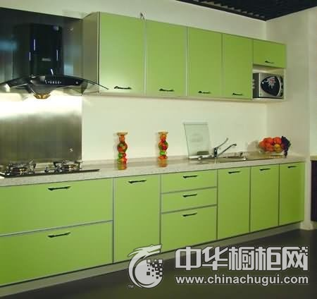 家和万事兴橱柜 一字型橱柜图片 绿色系整体橱柜效果图