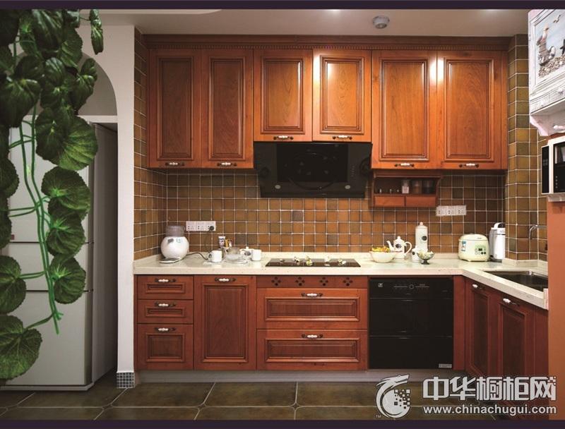 古典风格整体橱柜图片 L型厨房装修效果图