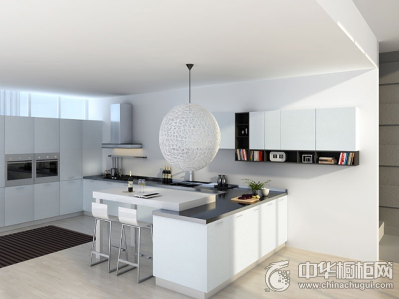 博洛尼橱柜 银狐C0025U厨柜套装 现代风格橱柜图片 U型橱柜装修效果图