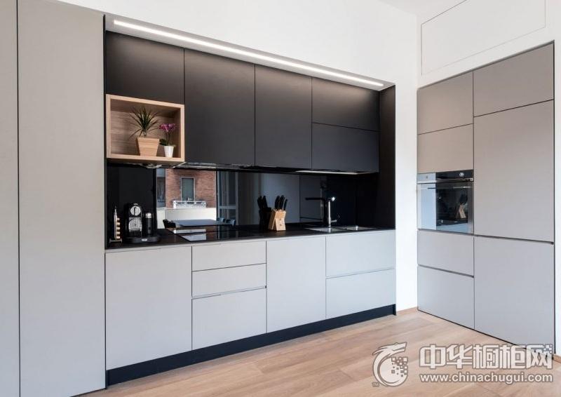 时尚现代风格厨房橱柜效果图 一字型整体橱柜图片