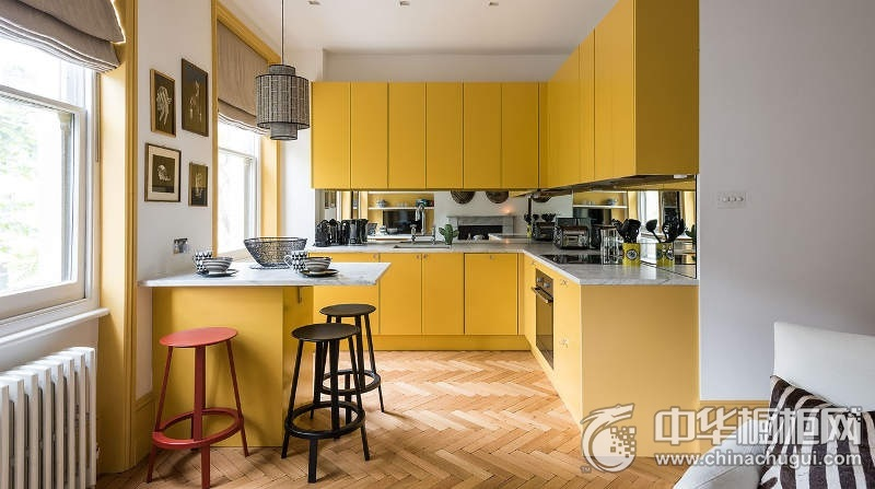 开放式厨房暖黄色整体橱柜图片 L型整体橱柜图片