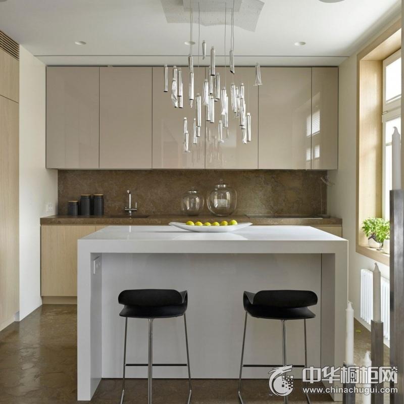 小户型厨房整体橱柜装修图片 岛型橱柜装修图片