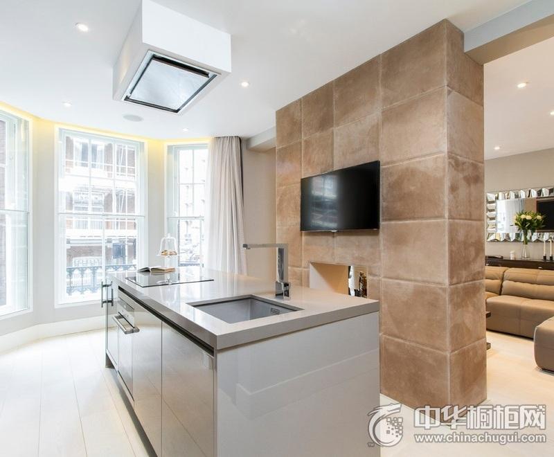 现代风格别墅白色橱柜装修效果图 橱柜装修效果图