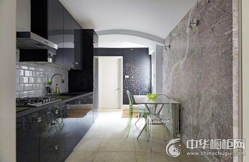 小户型厨房一字型黑色橱柜效果图 黑色橱柜效果图