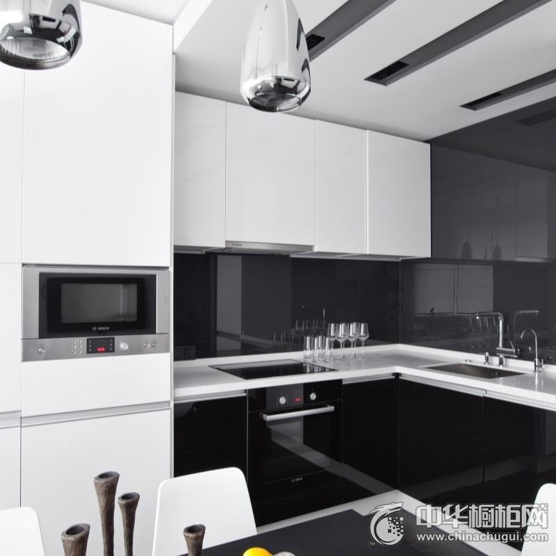 气质简约风格整体橱柜装修图片 黑色烤漆整体橱柜图片