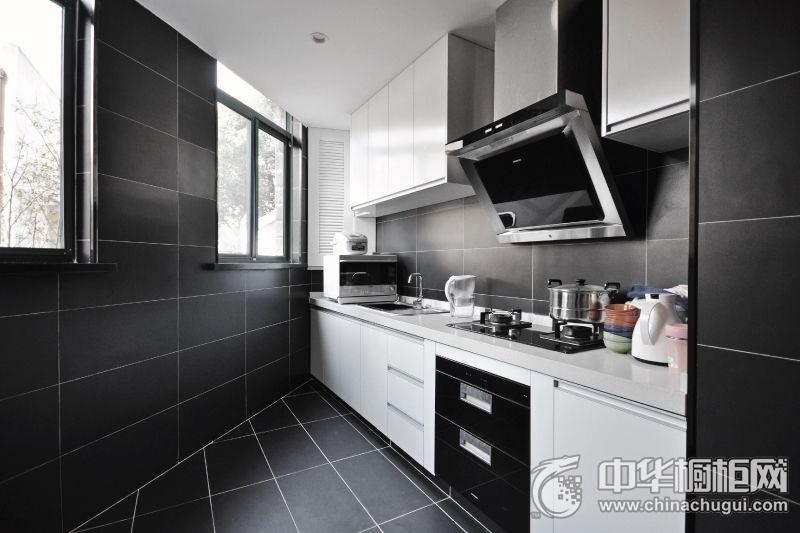 不规则厨房橱柜装修实景图 一字型橱柜装修效果图