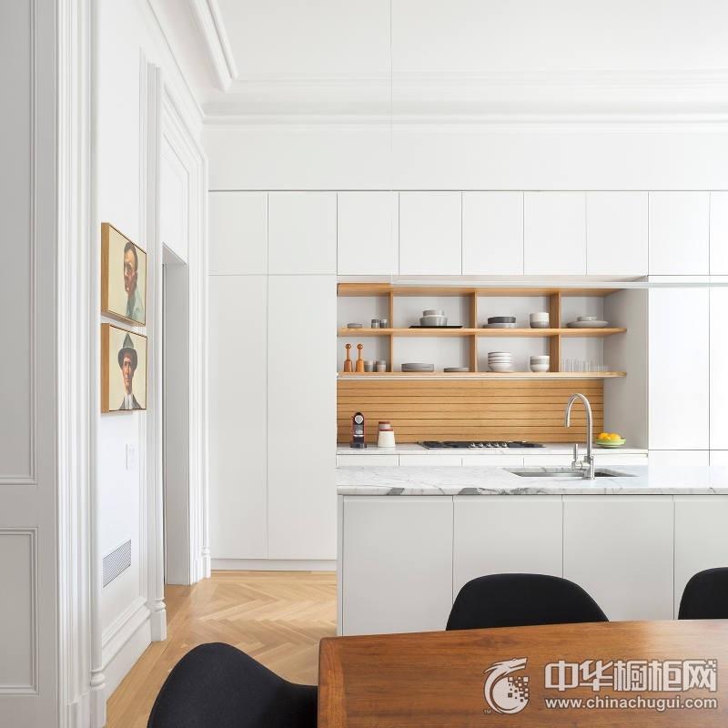 北欧风格干净厨房白色橱柜效果图 岛型整体橱柜图片