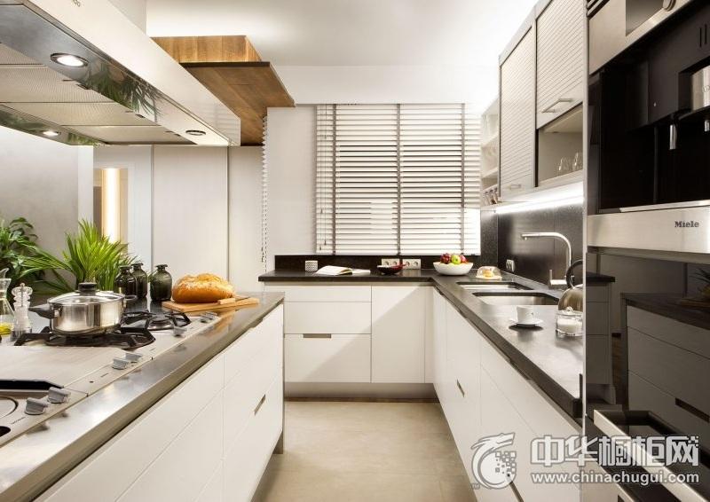 现代风格厨房时尚白色橱柜效果图 岛型整体橱柜效果图