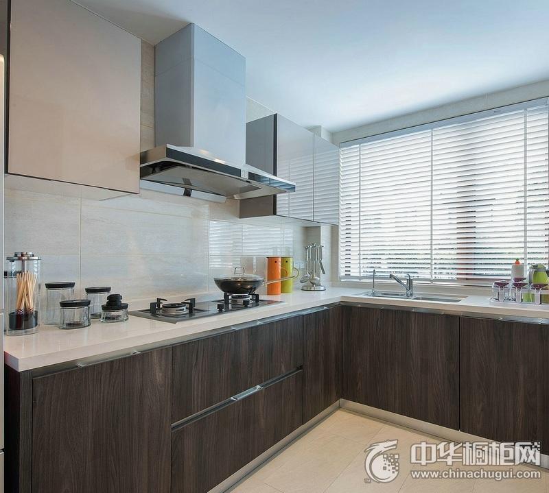 现代风格厨房木纹橱柜装修图片 气质L型整体橱柜图片