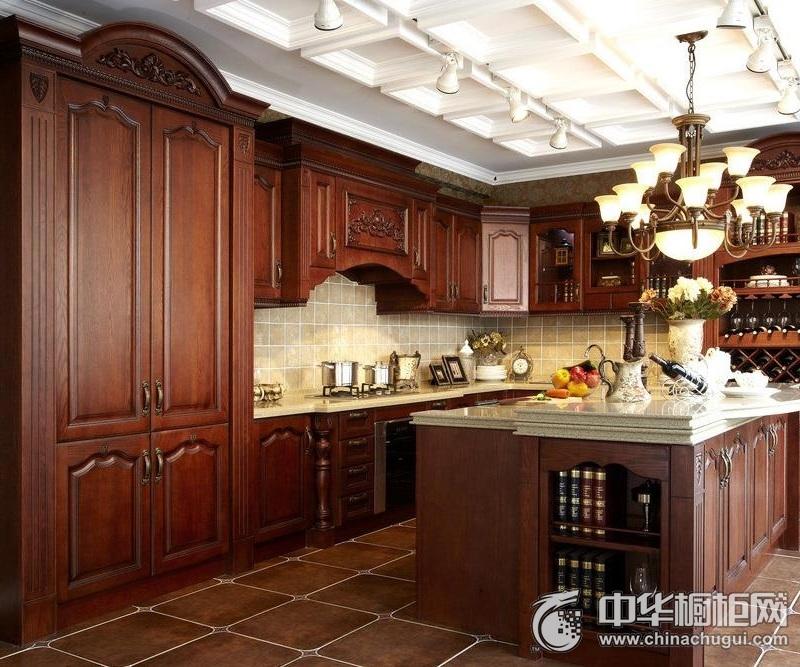 气质家装美式风格整体橱柜图片  厨房实木整体橱柜装修图片