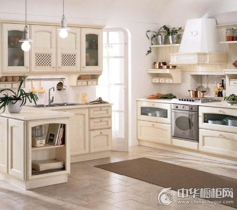 田园风格象牙白整体橱柜效果图 简约风格橱柜设计效果图