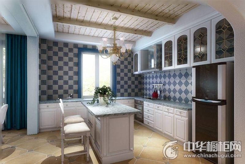 地中海风格厨房空间橱柜装修实景图 地中海橱柜图片