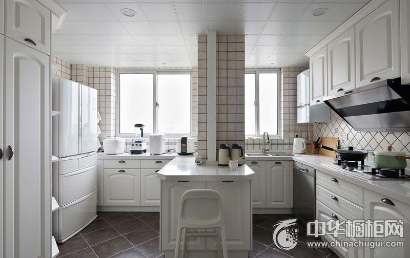 北欧风格白色整体橱柜装修效果图 L型整体橱柜效果图