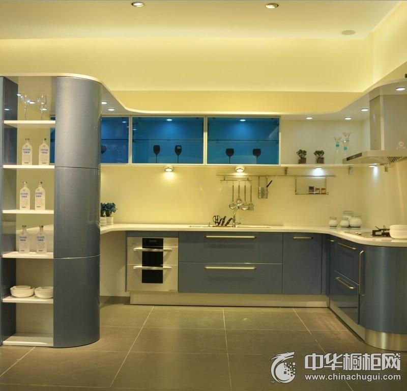 现代风格蓝色整体橱柜效果图 蓝色橱柜图片