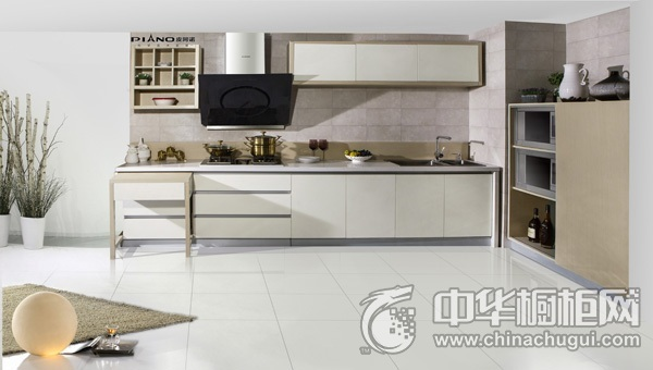 简约风格一字型厨房橱柜装修实景图 整体橱柜图片