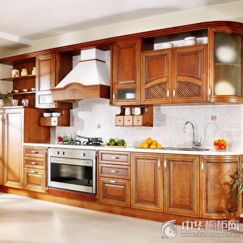 欧式风格厨房实木整体橱柜效果图 实木橱柜装修效果图