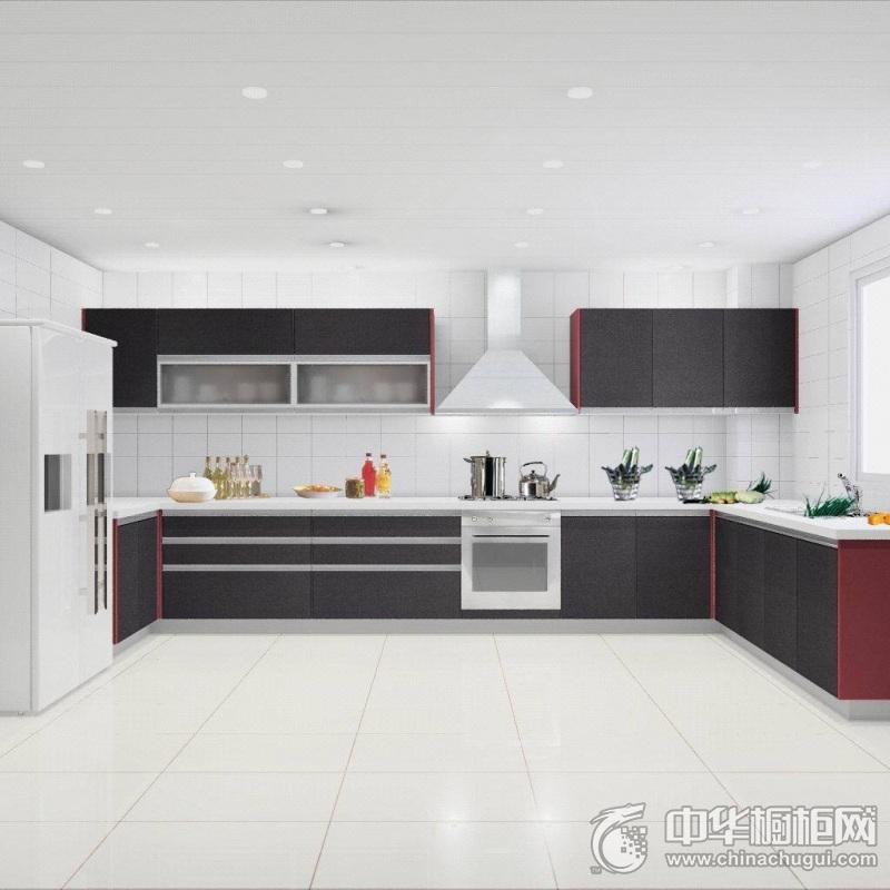 欧式风格开放式厨房黑色橱柜图片欣赏