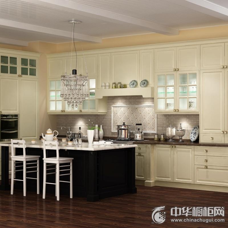 白色厨房橱柜装修效果图 大户型厨房整体橱柜效果图