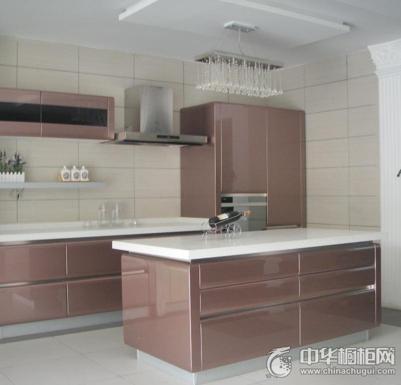 现代风厨房粉色整体橱柜装修效果图 烤漆橱柜装修效果图