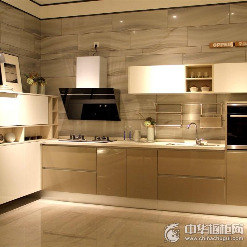 米色简欧风烤漆整体橱柜图片 烤漆橱柜效果图