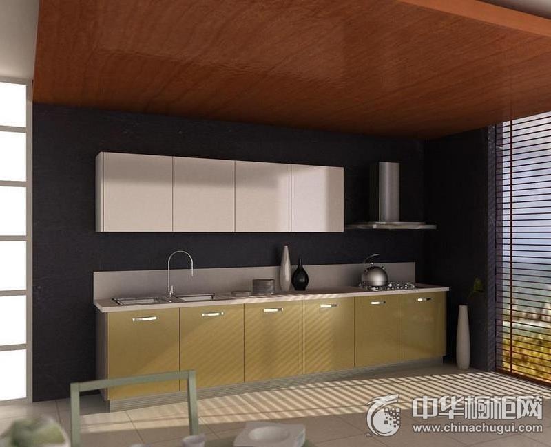 简欧风格厨房一字型整体橱柜效果图 一字型橱柜装修效果图