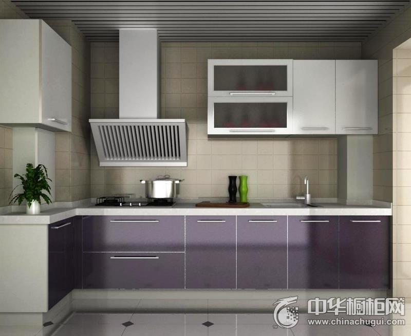 厨房空间紫色整体橱柜图片 紫色橱柜图片