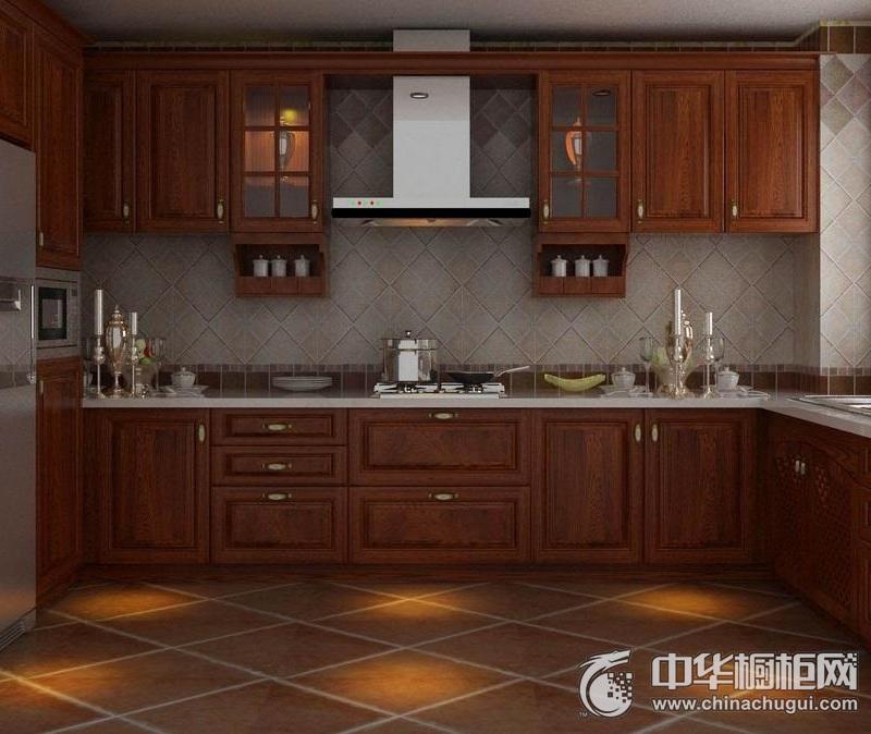 优雅厨房空间欧式风格橱柜装修实景图 实木橱柜效果图