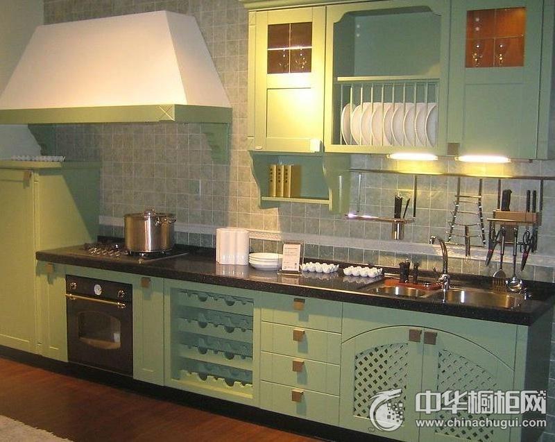 简约风格厨房薄荷绿整体橱柜图片 绿色整体橱柜图片