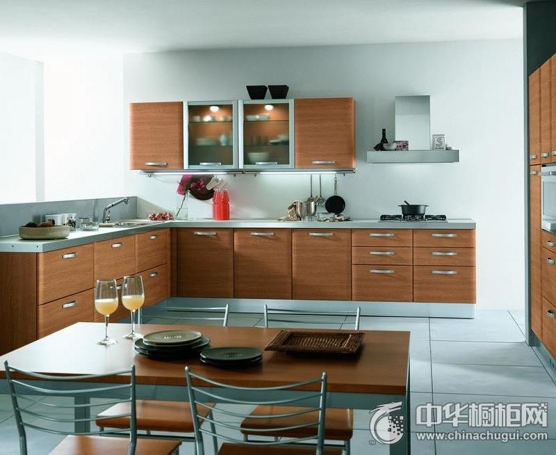 庄重大气厨房木纹整体橱柜效果图 木纹橱柜效果图