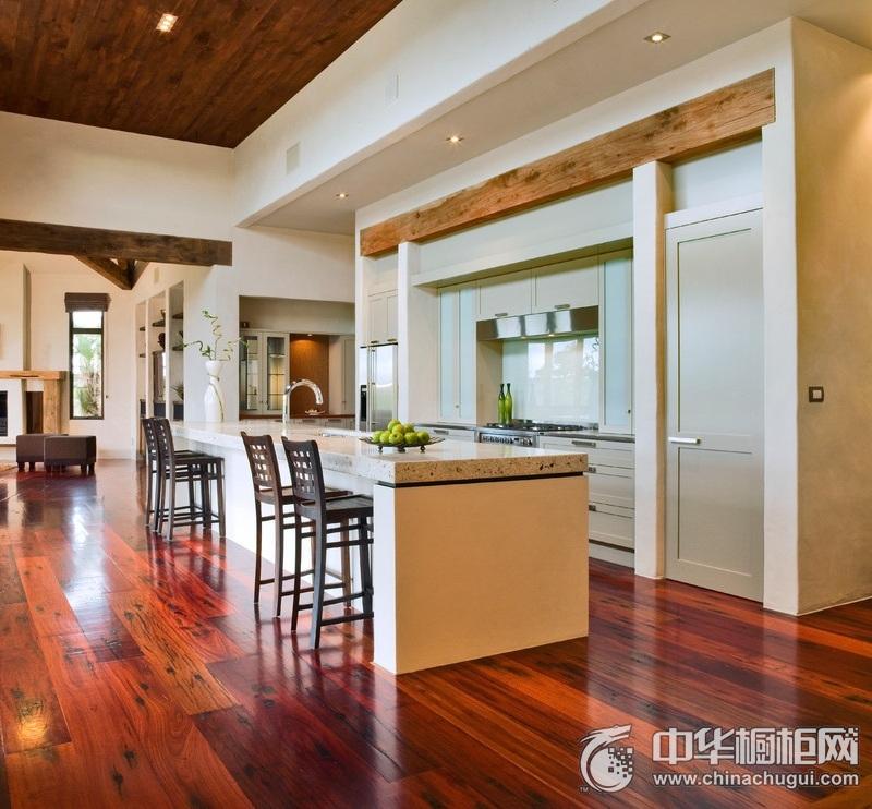 欧式开放式厨房橱柜装效果图 开放式橱柜装修效果图大全