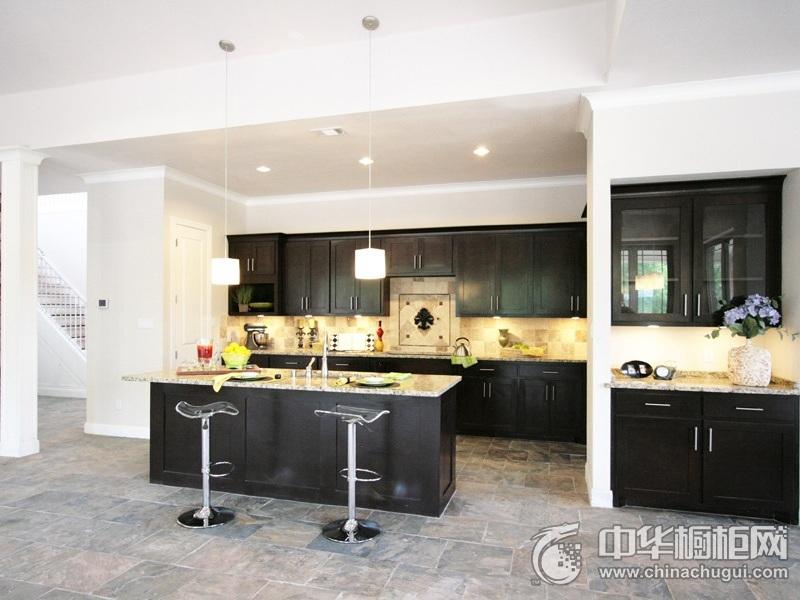 公寓厨房黑色整体橱柜效果图 黑色系整体橱柜效果图