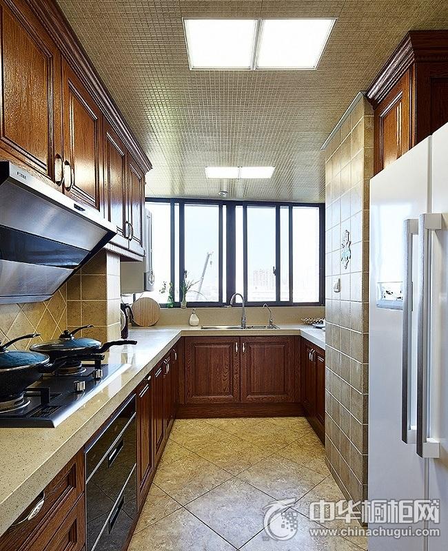 复古典雅美式风格厨房橱柜装修图片 实木整体橱柜图片